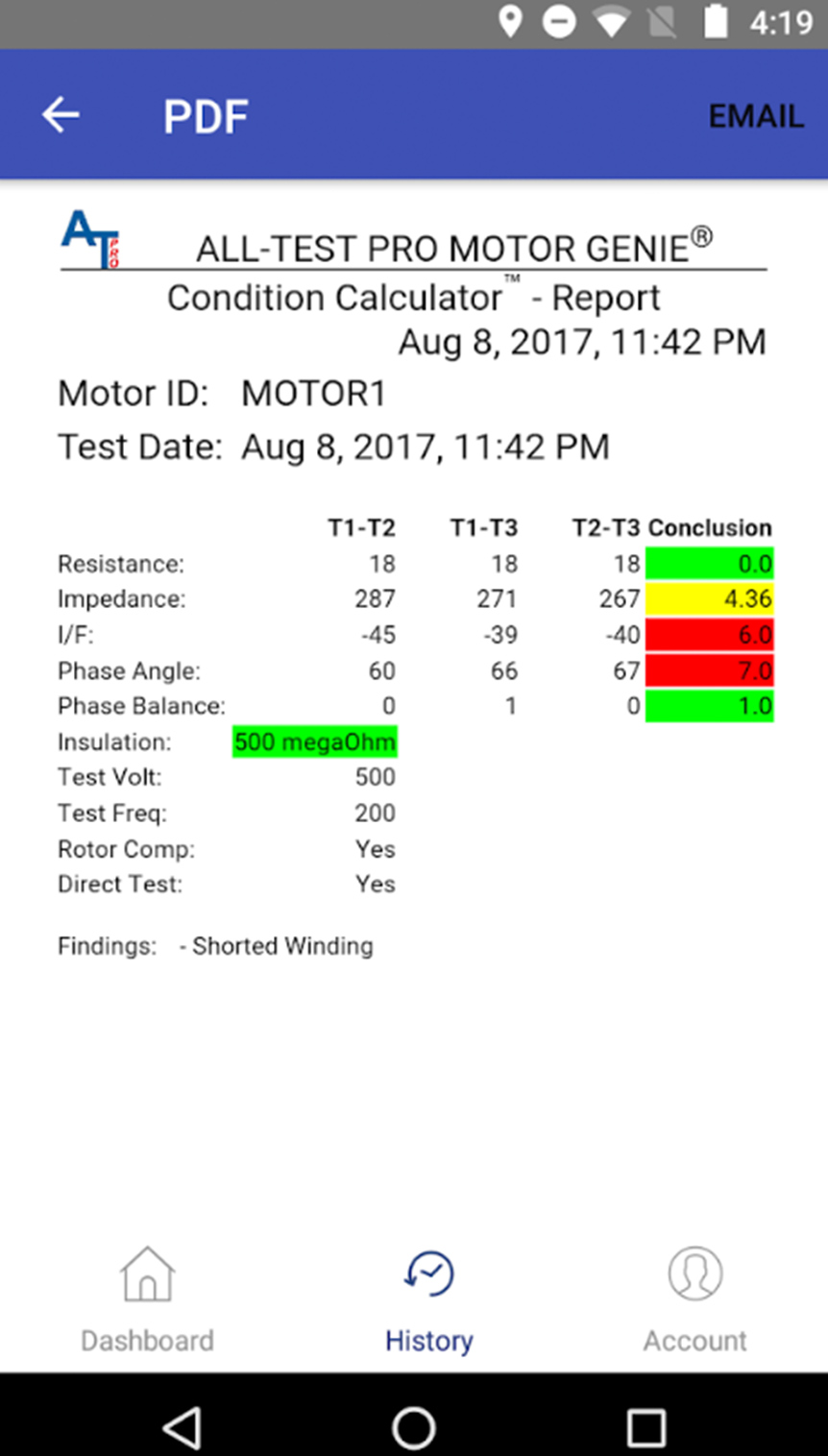 ALL-TEST Pro MOTOR GENIE® BAD Report